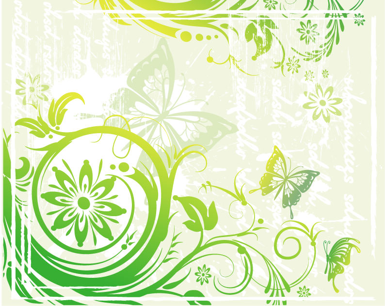 Green Floral and Butterflies Vector Illustration