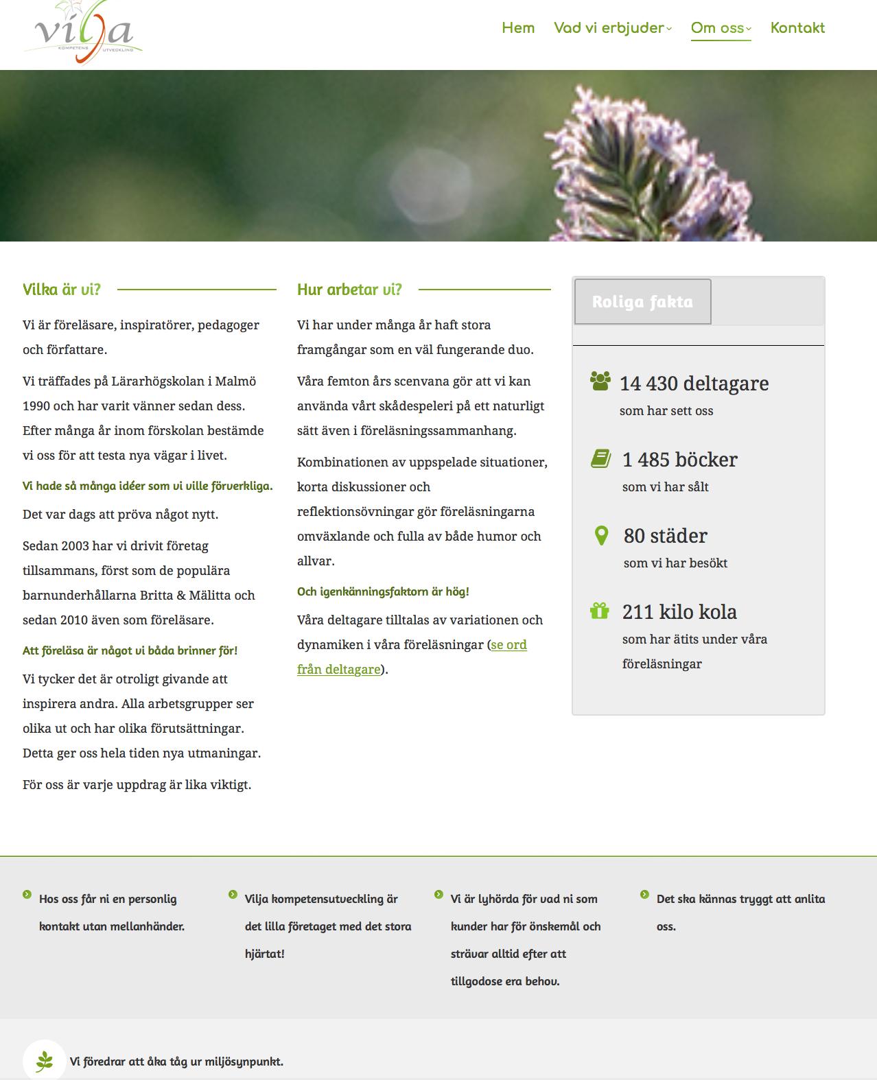 Vilja Kompetensutveckling – witryna internetowa